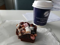 18Sep18 While Rod was having radiotherapy I went to find some coffee and also found a brownie with thick rich chocolate frosting covered in rocky road bits. Yes, I had a bite before taking the picky. #omgsogood #rockyroadbrownie #decadence #coffee #laterg (FlitterG) Tags: ifttt instagram