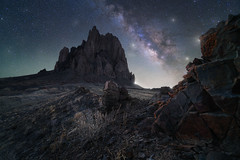 Captain Barbosa (bryanchong.photo) Tags: captain barbosa shiprock new mexico landscape badlands rocks nature milky way stars astrophotography laowa 15mm f2 outdoor night sky blue hour composite