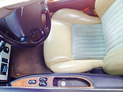 2004 Ford Thunderbird interior, driver's seat, controls IMG_2774 (wbaiv) Tags: ford thunderbird turquise beige interior leather fabric soft top pretty car colors black plastic carpet cloth inserts seats luxury 2seat automobile 2004 oneowner