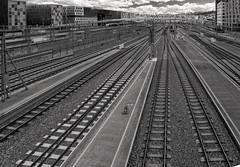 IMG_1986b - Through the city... (ragnarfredrik) Tags: trainstation rails oslos oslo bw sorthvitt view pov