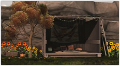 .Bee Designs Autumn Shed (Abi Latzo) Tags: beedesigns sanarae events secondlife sl shopping homeandgarden home decor furniture mesh plants shed autumn rug blanket sunflower outdoors outdoor outside