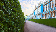 Nature and art. (fedoseenko) Tags: санктпетербург россия красота colour природа beauty blissful loveliness beautiful saintpetersburg sunny art shine dazzling light russia day green park peace garden blue white голубой небо лазурный color sky pretty sun пейзаж landscape clouds view heaven mood summer serene golden gold gate palace дворец colours picture exhibition pavilion hall architecture building photographer фотограф catherine road tree grass nature alley history trees tsar stairway walkway
