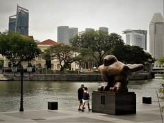 Big Bird by Botero (SM Tham) Tags: asia southeastasia singapore bigbird bronze sculpture statue plinth fernandobotero singaporeriver riverside promenade water cityscape buildings trees people