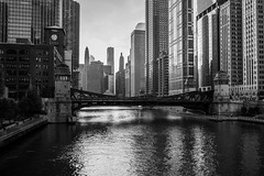 Chicago (romanboed) Tags: leica m 240 summicron 28 usa illinois summer chicago city street downtown morning skyscrapers river riverfront monochrome bw black white