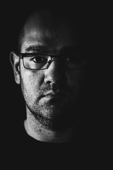 Self portrait (russell.ranklin) Tags: portraiture mugshot headshot moody ruleofthirds offcameraflash handheldflash remote tripod 77d canon niftyfifty f28 50mm selfie blackandwhite monochrome portrait self