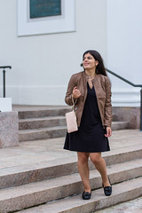 Fall Fashion From BJ's - black dress, leather jacket, charging wallet-4.jpg (LyddieGal) Tags: blush weekendstyle loafers littleblackdress adriennevittadini leather fashion style wardrobe brown fall outfit black