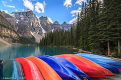 Colorful Canoes (Samantha Decker) Tags: ab alberta banffnationalpark canada canadianrockies canoneos6d morainelake parkscanada rockymountains samanthadecker canoes