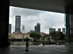 UOB plaza (SM Tham) Tags: asia southeastasia singapore cbd centralbusinessdistrict uob bank headquarters podium plaza entrance forecourt skyline buildings singaporeriver promenade trees sky