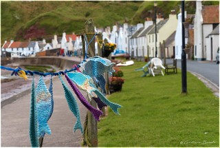 Pennan's local crafts works in the wind.