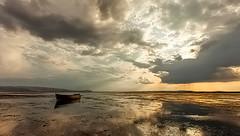 THE END (uzaktanbakanadam) Tags: landscape clouds yellow light boat lake beautiful goldenrate goldenhours canon ngc water