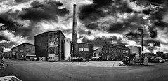 Panoramic Industrial Zone - Black & White (Pieter de Knijff) Tags: industrial panoramic bw blackandwhite urban exploring urbex holland netherlands dutch woerden tile factory