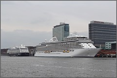 Seven Seas Explorer and Azamara Journey in Amsterdam (wrblokzijl) Tags: sevenseasexplorer cruiseship cruiseschip regentsevenseas kreuzfahrtschiff cruiseliner oceanliner cruise naviredecroisière paquebot boat ship 遊輪 круизное судно crucero nave crociera croisière navire cruzeiro krydstogtskib κρουαζιερόπλοιο cruiseskip risteilyalus 游轮 kryssningsfartyg クルーズ船 amsterdam pta passengerterminalamsterdam port bow quay amsterdamnoord amsterdamnorth kryssningsfartyget bateaudecroisière