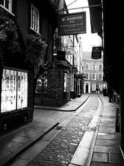 Shambles, York (Hammerhead27) Tags: famous sign window olympus bw blackandwhite monochrome mono old historic heritage tourist shop house flagstone cobbles alley street shambles england yorkshire york