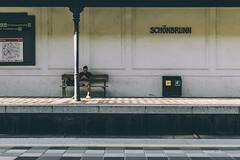 Schönbrunn, Viena (The Pumpkin Theory) Tags: viena wien schönbrunn train tren station estacion guy waiting esperar movil metro lines