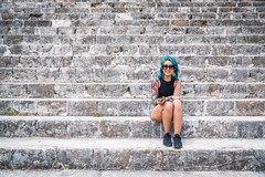 What makes you different makes you beautiful. (catrall) Tags: mexico uxmal yucatan temple ruin ruins maya mayan culture girl woman blue hair different beautiful nikon d750 fx sigma sigmalens 24105 march 2018