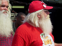 #SantaClaus @ the Indiana State Fair on a hot August day. (kennethkonica) Tags: indianastatefair people faces indiana indianapolis indy canonpowershot canon usa midwest america hoosier magicmoment persons color summer fun fairground fair santaclaus santa beards xmas