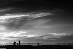 evening walk (fhenkemeyer) Tags: bw meneham finistère brittany france sky clouds hff fence