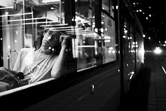 On the way home (_storysofar_) Tags: streetphotography streetportrait portrait people man window train looking thinking thoughts stare lights station railwaystation railway night ride moscow russia fujifilm