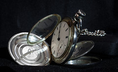 American Watch Co. (August 1869) (Sterling Silver) (steviep187) Tags: pocketwatch americanwatchco psbartlett 1857 watch canon eos xsi rebel dslr 1869 silver waltham massachusetts nice vintage old antique ancient black shiny timepiece indoors dark sterling shadows
