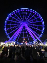 Montreal's Ferris Wheel (moonjazz) Tags: montreal nightlife ride travel photography canada ferriswheel lagranderouedemontréal oldmontreal high lights biggest blue fun grand city thrills quebec citylife amusement attraction favorite canon