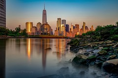 One World Trade sunset reflection (mitzgami) Tags: lowermanhattan landscape sunset longexposure nikonphotography inexplore flickr newyorkcity worldtradecenter onewtc newjersey jerseycity colgateclock