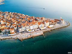 The Piran Series (The Hobbit Hole) Tags: djimavicpro slovenia beach adriatic travel harbor water fromabove piran droneshots boats summer sea shore
