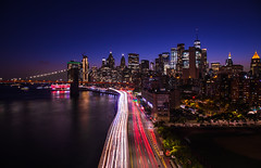 View of the city from Manhattan Bridge (Photos By RM) Tags: city manhattanbridge newyorkcity newyork manhattan bridge longexposure lightstream canon sunset skyline skyscrapers night cars brooklynbridge nyc nycphotographer travel photography