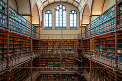 Cuypers Library (McQuaide Photography) Tags: amsterdam netherlands nederland holland dutch europe sony a7riii ilce7rm3 alpha mirrorless 1635mm sonyzeiss zeiss variotessar fullframe mcquaidephotography adobe photoshop lightroom handheld inside indoor interior urban city capitalcity building angle wideangle pov architecture symmetry symmetrical shape form shapes angled lines linking museum history historic rijksmuseum researchlibrary library cuyperslibrary books shelves