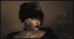 More Than You Know (Moxxie Kalinakova) Tags: 1920s retro sepia vintage hat smoking classy elegant headshot portrait beauty beautiful moxxie kalinakova