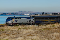 AmTrak east bound at Hercules, Calif. (Walt Barnes) Tags: passengercar passenger view scenery scene track trackside rail railroad train locomotive dieselelectric engine railcar amtrak caltrans cdtx canoneos60d canon eos 60d eos60d wdbones99 wdbones hercules calif ca smoke