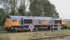 Oops wrong Platform! (AndrewHA's) Tags: cambridgeshire ely railway station gbrf class 66 diesel locomotive loco 66730 whitemoor 4z26 felixstowe rotherham masborough container intermodal train service freight