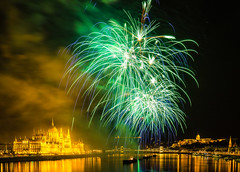 flaming Danube (werner boehm *) Tags: wernerboehm firework budapest danube nightshot hungary ungarn parlament parliament