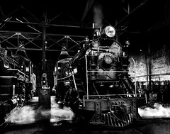 024693763750-104-Steam Locomotive-4-Black and White (Jim There's things half in shadow and in light) Tags: america ely nevada nevadanorthernrailwaymuseum southwest usa whitepinecounty history locomotive museum rail steam monochrome blackandwhite train