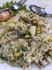 I opted for nasi goreng- fried rice, but mine had bits of octopus in it