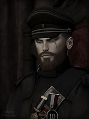 The Commendant (Orwar Furlgrimr) Tags: sl second secondlife photo photograph photography catwa shaheen contraption cap hat giomen jager jacket uniform sash medals ro remarkable oblivion gaeg beard deadwool volkstone swallow ears skin amias vintage army history portrait scar soldier officer war