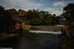 PFOldMill+1_0311_fusw (nickp_63) Tags: old mill pigeon forge tennessee tn gristmill water river sky clouds blue heron