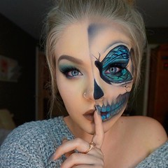 By @the_beauty_booth (ineedhalloweenideas) Tags: halloween makeup make up ideas for 2017 happy night before christmas october 31 autumn fall spooky body paint art creepy scary horror pumpkin boo artist goth gothic amazing awesome