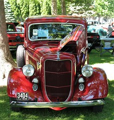 Old School 1936 Ford Pickup (ilgunmkr - Mourning The Loss Of My Wife Of 52 Year) Tags: carshow sandwichillinois 2018 ford fordflatheadv8 fordtruck fordmotorcompany 1936 streetrod 3deuces threetwobarrels