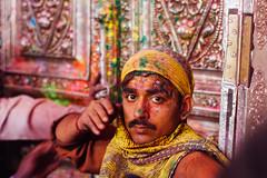Gulal Covered Man in Shri Banke Bihari Mandir (AdamCohn) Tags: adamcohn bankebiharimandir hindu india shribankeybiharimandir vrindavan holi pilgrim pilgrimage होली