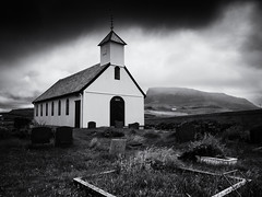 The Church at Nólsoy (Feldore) Tags: faroeislands nólsoy faroe islands church landscape mountains moody sky old wooden feldore mchugh em1 olympus 1240mm graveyard 1863 traditional christian