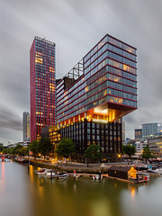 Long exposure at the Red Apple Rotterdam (Rob Schop) Tags: wideangle nd64 sonya6000 nederland outdoor clouds pscc rotterdam city multipleexposure le redapple samyang12mmf20 hoyaprofilters longexposure a6000 lrcc wolken haven f11