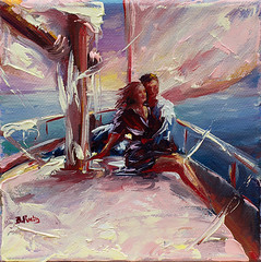 A couple on sailboat (bozhenafuchs) Tags: art artwork seascape drawing painting oilpainting impressionism oilpaint contemporaryart seascapepainting marine sailing sailboat sail couple love fineart etsy etsyseller sketch ocean