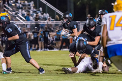 """PVHS v. Palatka-267 (mark.calvin33) Tags: football field sport ball """"high school"""" """"ponte vedra high pvhs block tackle rush run pass catch receiver blocker """"running quarterback fumble completion reception hike pitch snap """"friday night lights"""" fans stands kick """"end zone"""" """"nikon 2018 win athletics athletes """"night photography"""" """"sharks football"""" back d7100"""