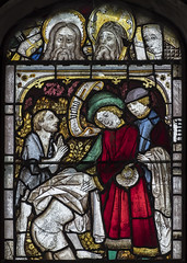 Tattershall church, East window,  panel 4-5a (Jules & Jenny) Tags: tattershall stainedglasswindow medieval holytrinitychurch eastwindow actsofmercy clothing