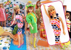 PRINT APLENTY (ModBarbieLover) Tags: 1967 barbie mod shift dress brick print blonde tnt fashion house mattel earrings pink navy black orange groovy doll