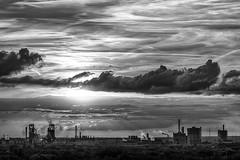 Monochrome Sunset - Duisburg, Germany (dejott1708) Tags: monochrome sunset duisburg ruhrarea germany northrhinewestphalia industry industrialbuildings clouds