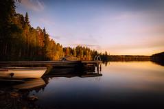 Evening (mabuli90) Tags: summer night dusk sunset finland dock boat lake water sky forest tree ladder pier
