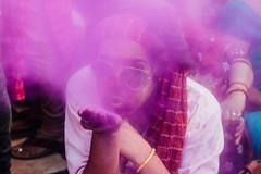 Blowing Pink Gulal During Holi (AdamCohn) Tags: abeer adamcohn bankebiharimandir hindu india shribankeybiharimandir vrindavan gulal holi pilgrim pilgrimage अबीर गुलाल होली