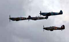 Fighter Formation (Bernie Condon) Tags: vickers supermarine spitfire warplane fighter raf royalairforce fightercommand ww2 battleofbritian military preserved vintage aircraft plane flying aviation hawker hurricane formation goodwood goodwoodrevival british uk greatbritain sussex