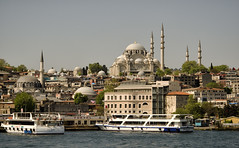 Turkey: Mosque On The Bosphorus (Doug Craig Photography) Tags: asia europe turkey istanbul mosque validesultanmosque thenewmosque travel stock nikon d7000 minaret cityscape urban journalism photojournalism dougcraigphotography greatphotographers flickrtravelaward coth coth5